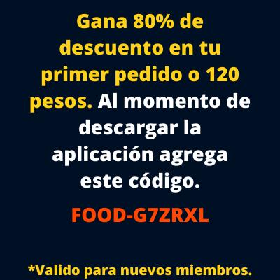 Como tener 80 porciento de descuento usando DIDI food México por primera vez
